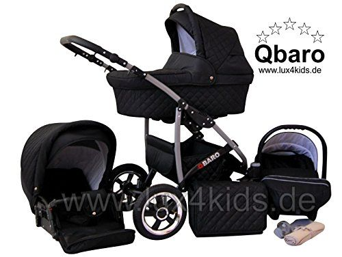 Lux4Kids Q Baro 3 in 1 Cochecito Combinado (asiento del coche incluye adaptadores, cubierta para la lluvia, mosquitero, ruedas giratorias 9 colores) 06 negro  #carricochesbebe