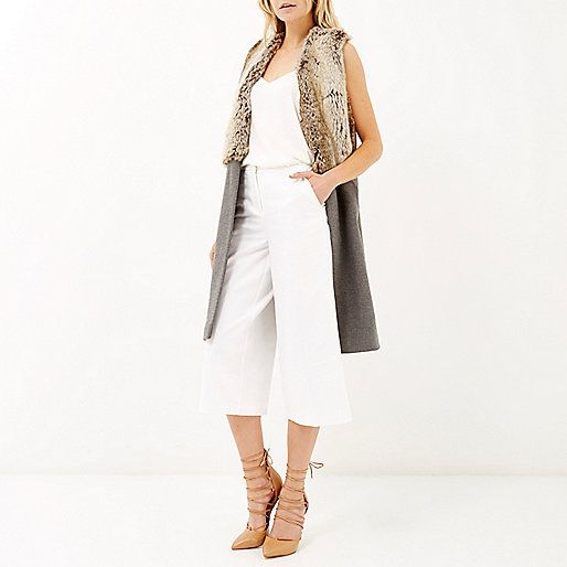 Grey half fur sleeveless jacket - vests - coats / jackets - women