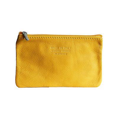 Martha Italian Yellow Leather Cosmetic/Makeup Bag - £12.99