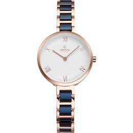 OBAKU Vand - cobalt // rose gold and blue stainless steel watch