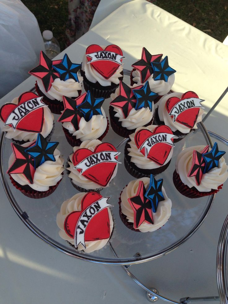 Sailor Jerry tattoo baby shower cupcakes