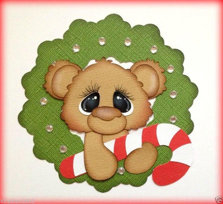 PAPER PIECING CHRISTMAS BEAR IN WREATH HOLIDAY SCRAPBOOK BY MY TEAR BEARS KIRA