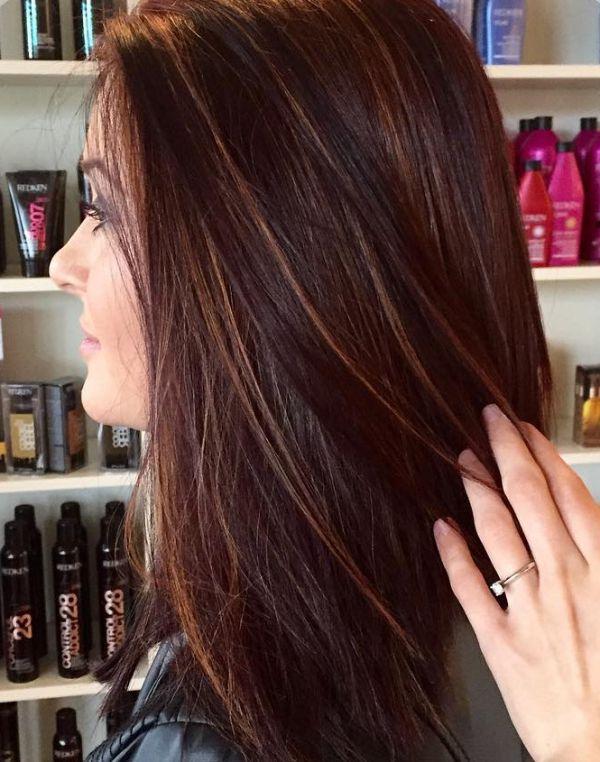 Mit roten strähnen dunkelbraun 60 Frisuren