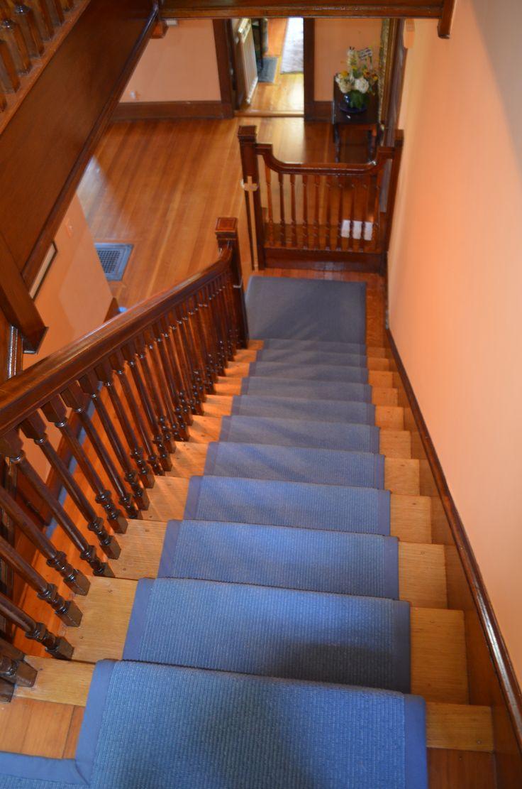 install carpet runner wooden stairs