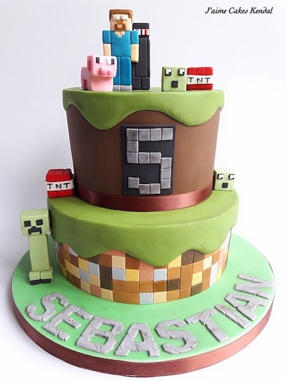 Minecraft Birthday Cake Cake Ideas Ornaments Pinterest