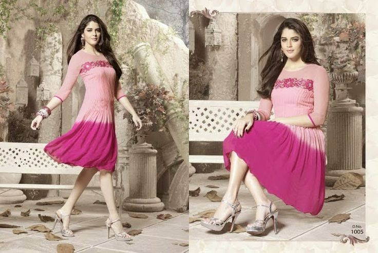 Superb Designer Ready to Wear Georgette Kurti with linning  in shaded Pink color with beautiful Thread Embroidery .  Available in S,M,L, XL size.
