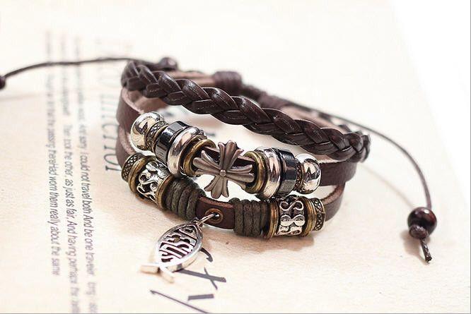 Handmade Fish Jesus Leather Adjustable Bracelet