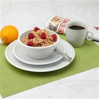 Ksp Oslo Porcelain Dinnerware Set/16 White/Green | Kitchen Stuff Plus  #KSPPin2Win