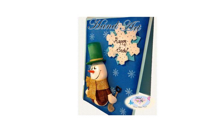 Christmas handmade cards. Snowman card original ideas for your cards on special days.