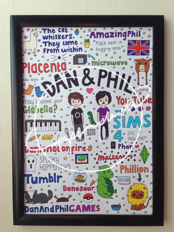 dan and phils best moments summarised in a beautifully hand-drawn collage, ready to join the llama hat and stuffed lion in your bedroom! the