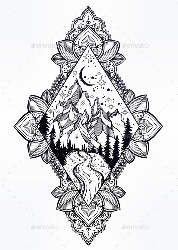 Forest, Mountain River Landscape in Ornate Frame - Miscellaneous Vectors Download here : https://graphicriver.net/item/forest-mountain-river-landscape-in-ornate-frame/19635905?s_rank=15&ref=Al-fatih