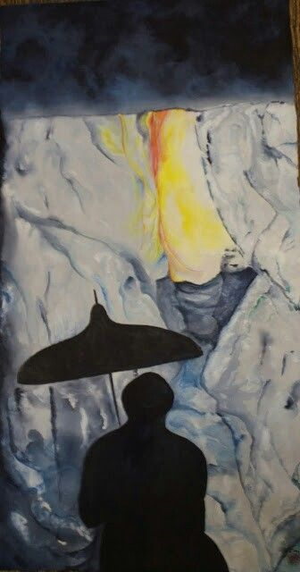 LIFE Shadow's auto portrait 39cmX 74cm Korean rice paper (Hanji) Acrylics Watercolours From a picture I took of my shadow in a cave in South Korea in 2013. In that cave was cold, rainy, grey and my shadow reflected on the wall, but at the end there was a way out, a light, a warm feeling. Just like in life!