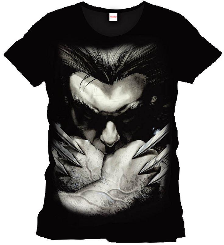 Camiseta Wolverine rostro. Marvel Cómics Espectacular camiseta en color negro donde podemos ver el rostro semi oculto del poderoso Wolverine y sus irrompibles garras en una diseño 100% oficial y licenciado.