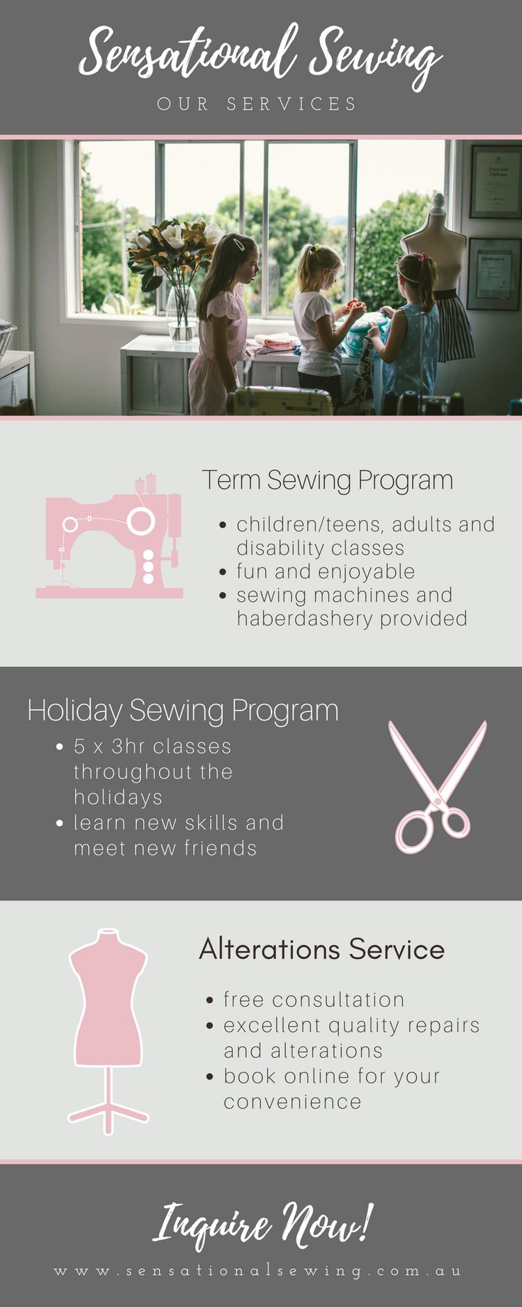 Services offered at Sensational Sewing  #learntosew #sewing #lessons #holiday #school #alterations #sensationalsewing