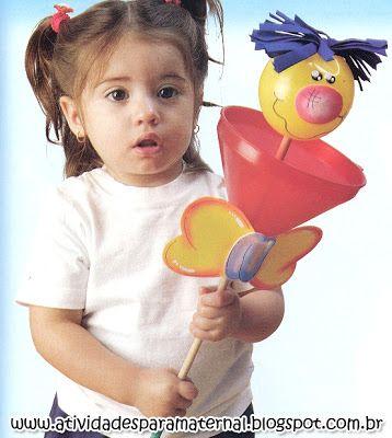 Atividades para maternal, creche e berçário: Fantoche de vara com material reciclado