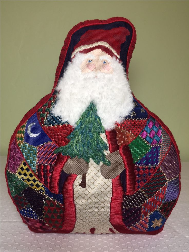 Another favorite design, this Santa by Ruth Chow. I substituted Peluche for the beard (instead of dreaded boullion knots) and found it an easy and effective thread to use,