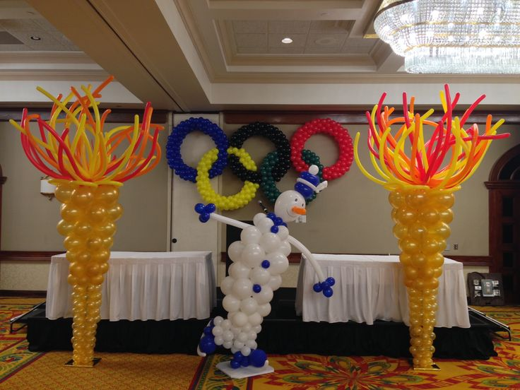 Classroom Decorating Ideas Olympic Theme ~ Winter olympic theme balloon decoration http