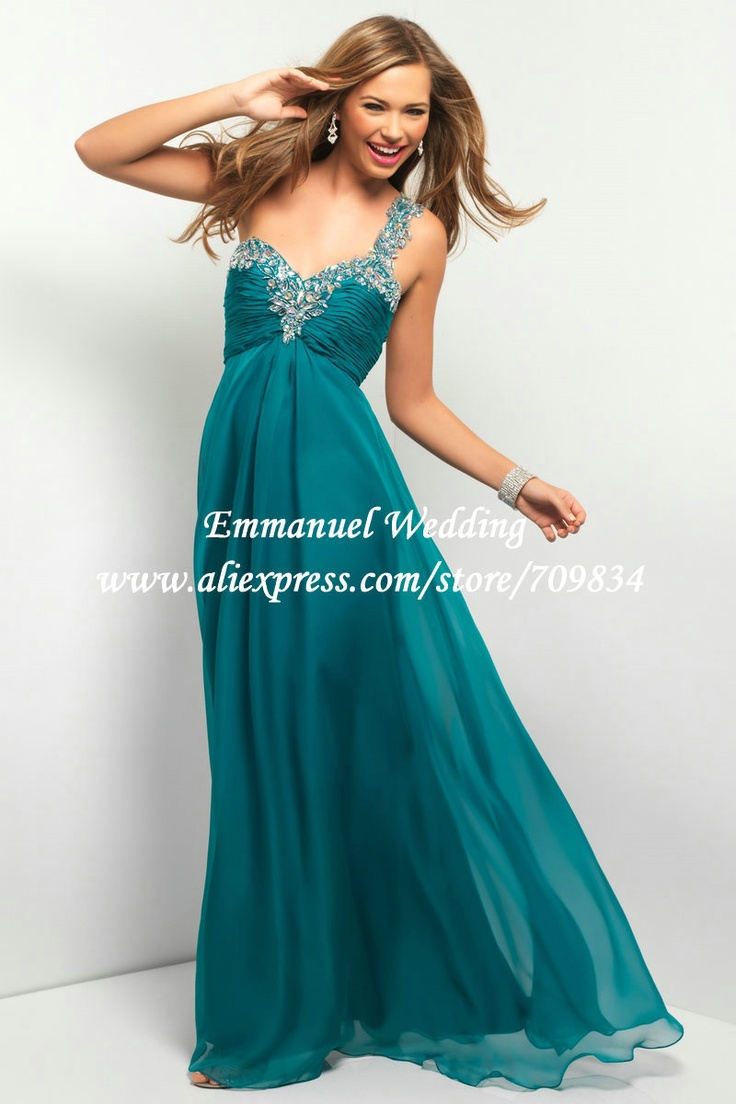 Aliexpress Com Buy Vinyl American Princess 45cm Dolls: Empire Waist One Shoulder Chiffon Teal Prom Dress Long