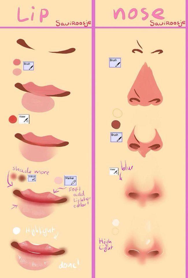 Cómo dibujar narices y labios FÁCIL