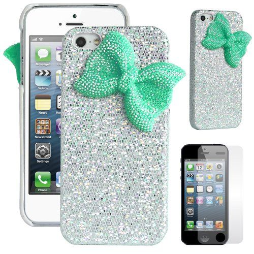 Pandamimi ULAK(TM)�Deluxe Sweety Girls Case Cover Decorated Bling Glitter Bow for iPhone 5 (Silver/Green)