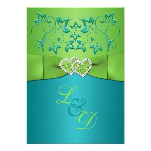 TORQUOISE AND LIME GREEN WEDDING | turquoise blue and lime green floral wedding invitation has blue green ...