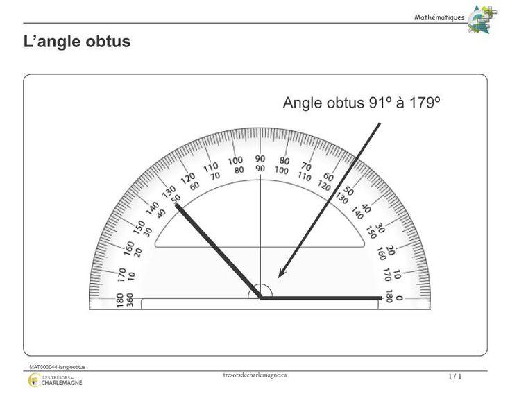 Affiche-L'angle obtus - Les trésors de Charlemagne  Ce document vous servira de référence pour la notion de l'angle obtu. Vous pouvez l'afficher en classe ou l'inclure dans vos cahiers de notions.  #Affiches #Mathématiques  3e cycle, 5e année, 6e année, #affiche #angle #Mathématique #mesure