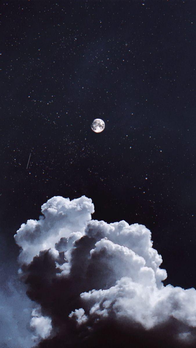 Moon Clouds Sky Aesthetic Tumblr Wallpapers Fotografi Alam Alam Fotografi