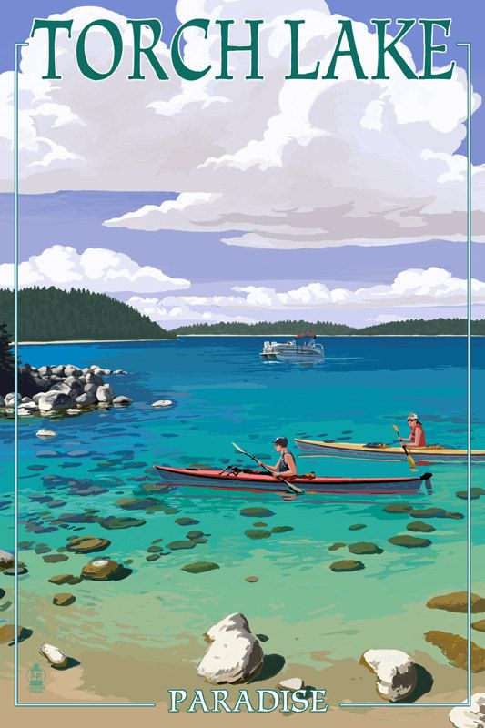 Torch Lake Michigan Kayakers Art Prints Available In Multiple Sizes