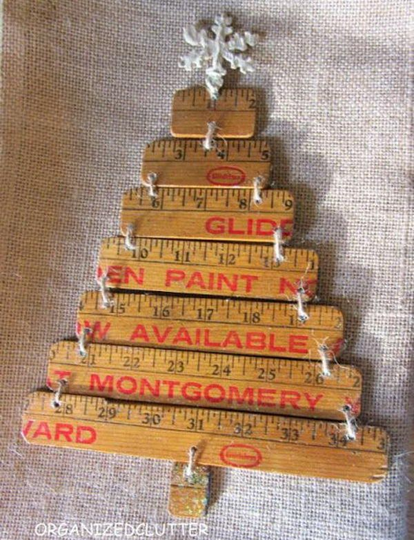 repurposed yardstick christmas tree, Creative Ruler Crafts, http://hative.com/creative-ruler-crafts/,