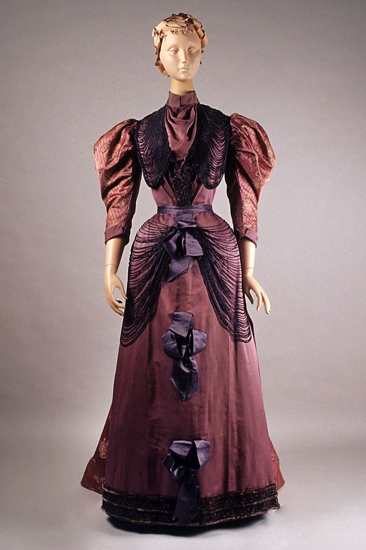 Purple satin and brocade dress with beaded swags, Bourdereau Veron et Cie., French, ca. 1893, KSUM 1983.1.207 ab.
