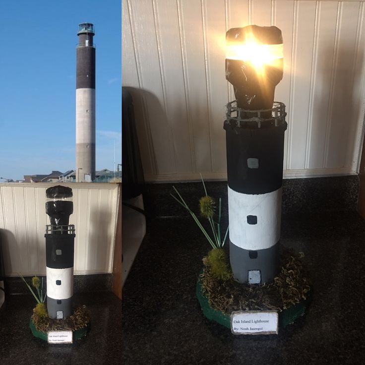Our version of Oak Island (Noah's NC Lighthouse school Project) Thanks to whoever uploaded the first pic 😊The Pringle can & water bottle worked great 👍🏻