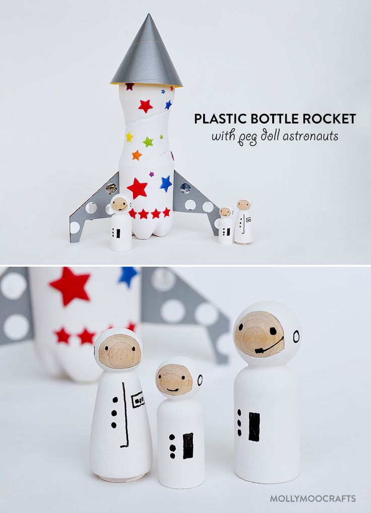 Plastic Bottle Rocket Ship with Peg Doll Space Family | MollyMooCrafts.com