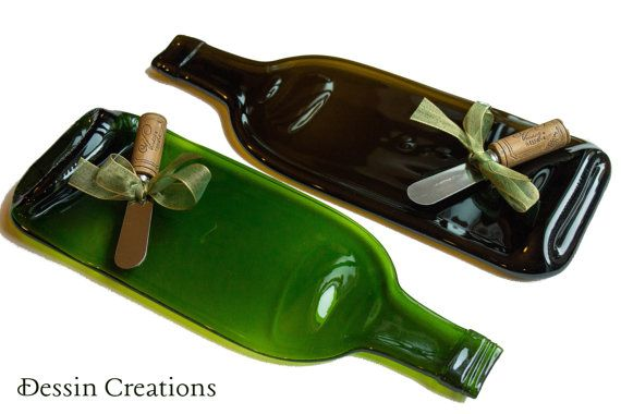 TWO Wine Bottle Cheese Tray  Recycled Glass by DessinCreations