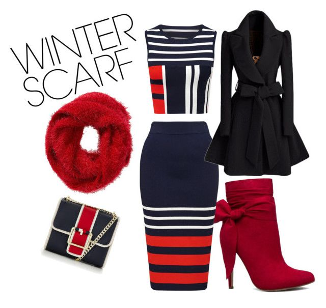 """""""winter scarf"""" by simondianad ❤ liked on Polyvore featuring Charlotte Russe, Tommy Hilfiger and winterscarf"""