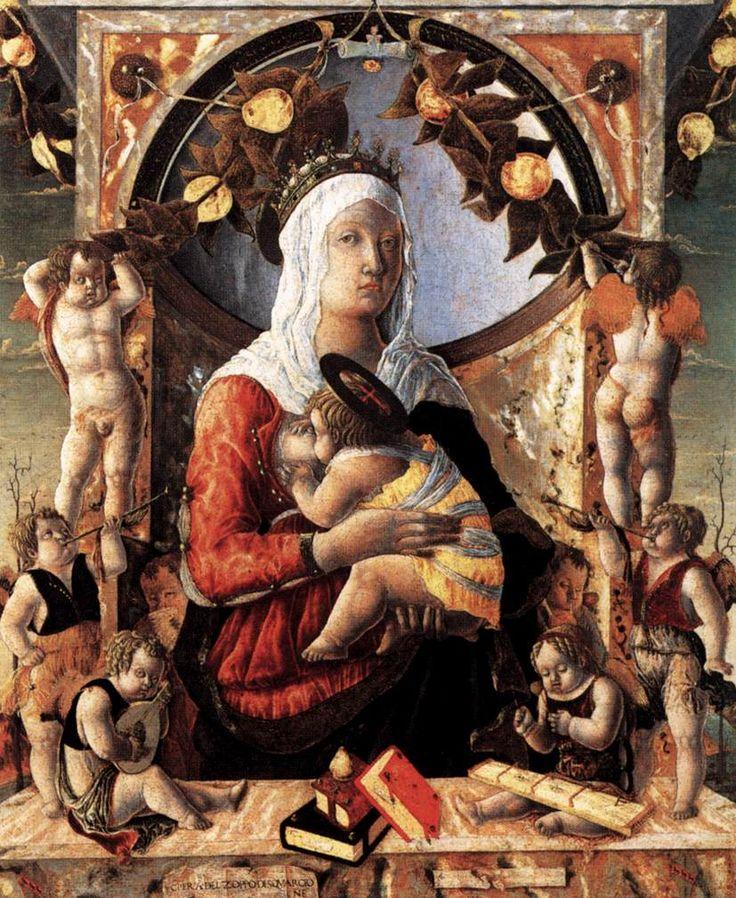 Madonna del Latte AutoreMarco Zoppo Data1453-1455 Tecnicasu tavola trasferita su tela Dimensioni89 cm × 72 cm  UbicazioneMuseo del Louvre, Parigi