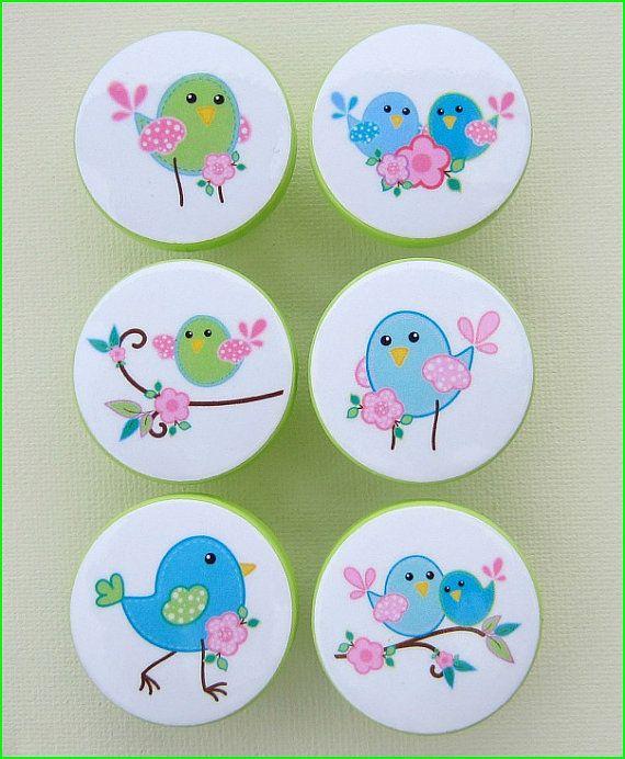 Kids Dresser Knobs - Drawer Knobs - Chickadee Birds - Drawer Pulls - Dresser Knobs with Metal Insert