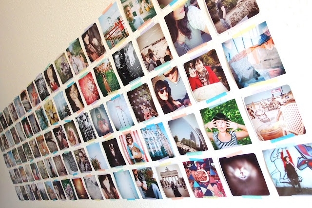 Square picture photo wall mounted with Washi Tape - instagram pics and Diana F+ pics!