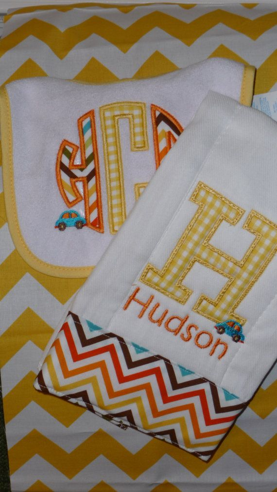 Baby Boys Monogrammed Bib and Burp Cloth with by rachaelcalzada, $18.00