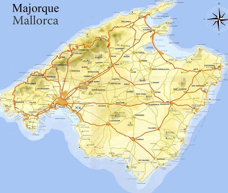Carte de Majorque. Baleares