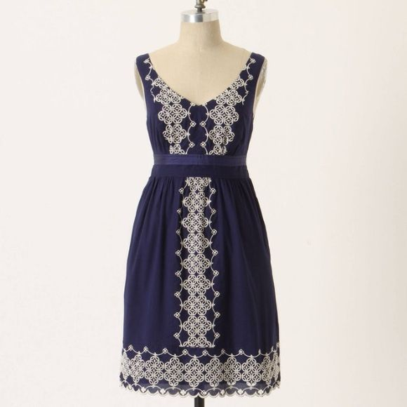 Anthropologie Camilla embroidered dress XS NWT Gorgeous navy and white a-line embroidered eyelet dress from Edme and Esyllte. 100% cotton with cotton lining. Lovely silk sash. Pullover and elastic through back waist. Runs large - much more like a S/M fit. Absolutely beautiful and versatile enough to be worn year-round! Anthropologie Dresses