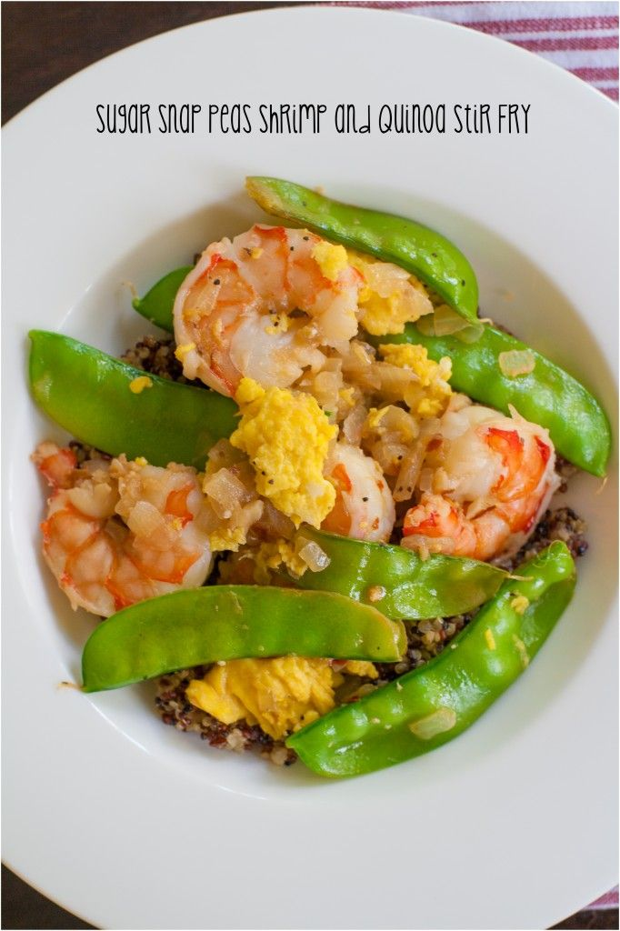 Sugar Snap Peas Shrimp and Quinoa Stir Fry, healthy, delicious and done in less than 30 minutes.