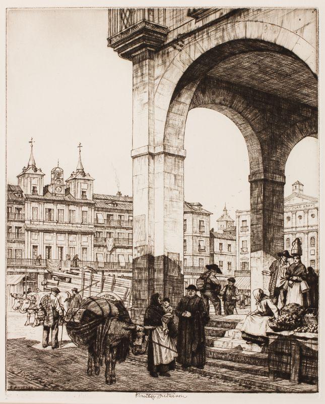 'La Plaza Mayor, Segovia' by Stanley Anderson RA (British 1884-1966) Engraving.