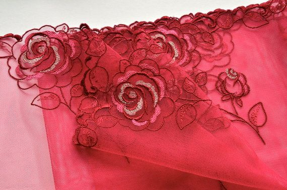 Wine Red Rose Embroidered Trim Double Edged Red by VintageToLiveBy, $14.00