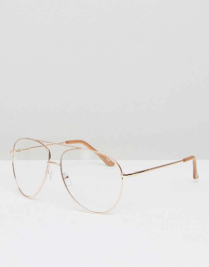 7df04377cd0c Asos Geeky Metal Frame Aviator With Clear Lens And Top Bar In Rose Gold