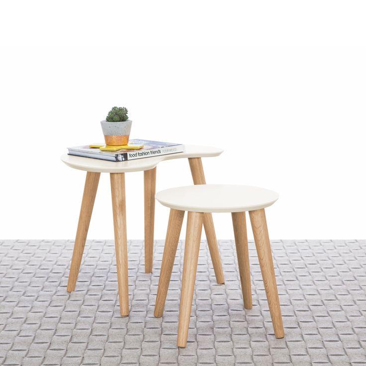 Vaasa Gloria Designer Danish Inspired Nest of Table - Ivory Top