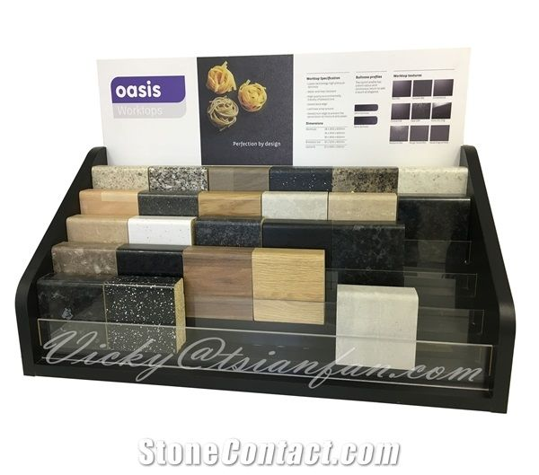 Quartz Stone Timber Desktop Display Stand