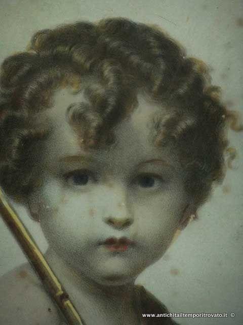 Oggettistica d`epoca - Stampe e dipinti - Litografia acquerellata di San Giovannino San Giovannino: litografia colorata a tempera - Immagine n°2