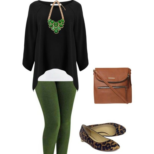 Green and black outfit inspired by LLR leggings.  Great for fall!