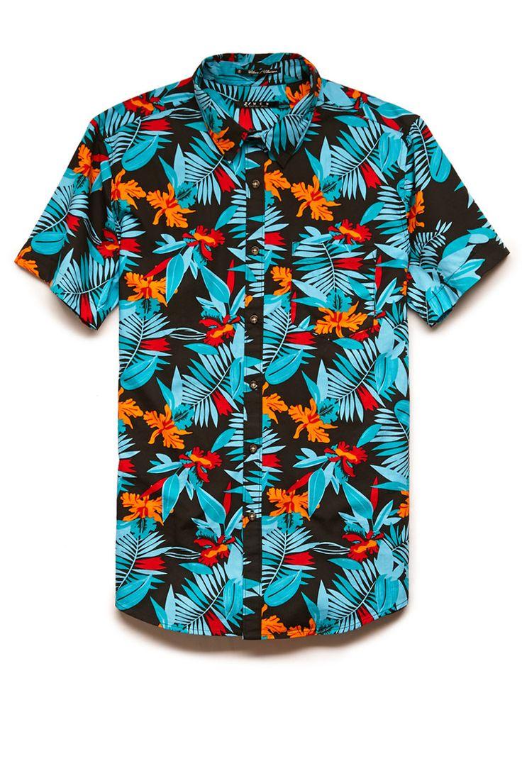 Tropical Print Cotton Shirt   21 MEN #21Men #Tropical