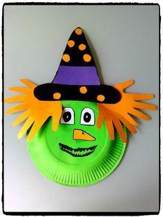 bricolage sorcière en assiette en carton, bricolage halloween, enfant
